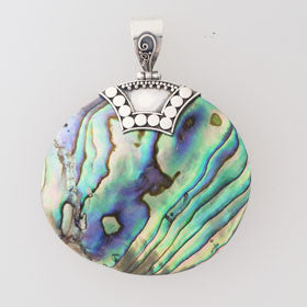 Abalone Balinese Disc Pendant Set in Sterling Silver
