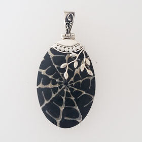 Black Shell Collage Vine Pendant in Sterling Silver