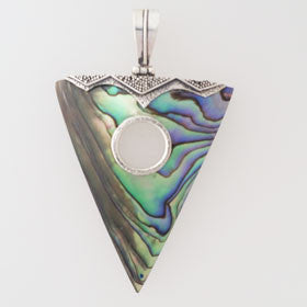 Abalone Arrowhead Shaped Pendant Set in Sterling Silver