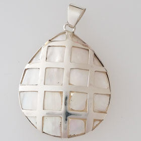 Mother of Pearl  Checkered Pendant Set in Sterling Silver