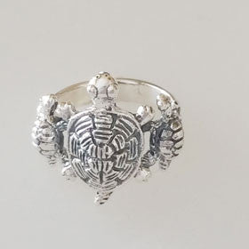 Sterling Silver Turtle Family Ring Large