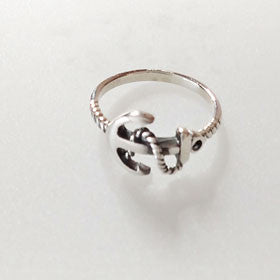 Sterling Silver Anchor & Rope Ring
