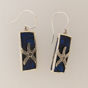 Abalone Starfish Blue Rectangular Earrings Set in Sterling Silver