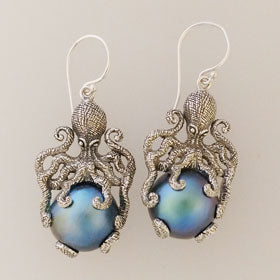 Blue Mabe Pearl Octopus Earrings Set in Sterling Silver