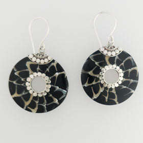 Black Shell Circle Sterling Silver Earrings