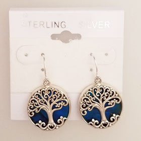 Abalone Blue Tree of Life Earrings Set in Sterling Silver