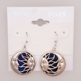 Abalone Moon & Sun Blue Earrings Set in Sterling Silver