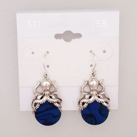 Abalone Octopus Blue Earrings Set in Sterling Silver