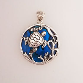 Abalone Turtle Blue Small Pendant Set in Sterling Silver