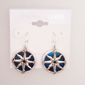 Abalone Compass Rose Blue Earrings Set in Sterling Silver
