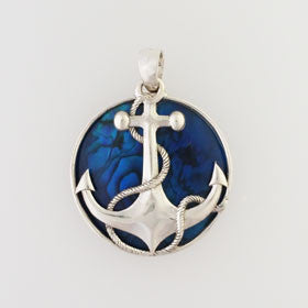 Abalone Anchor Blue Small Pendant Set in Sterling Silver