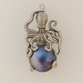 Blue Mabe Pearl Octopus Sterling Silver Pendant Small