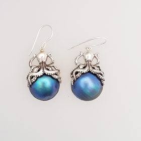 Blue Mabe Pearl Octopus Sterling Silver Earrings