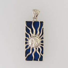Abalone Rectangle Sun Blue Pendant Set in Sterling Silver