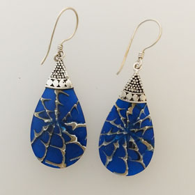Blue Sponge Coral Sterling Silver Earrings