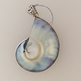 Blue Shell Pendant in Sterling Silver Large