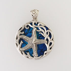 Abalone Starfish Blue Pendant Set in Sterling Silver