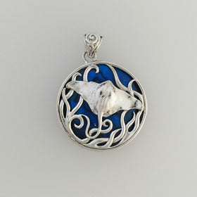 Lava Stingray Blue Pendant Set in Sterling Silver