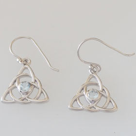 Blue Topaz Celtic Sterling Silver Earrings