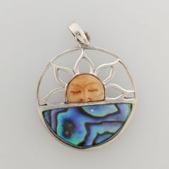 Abalone & Bone Sunrise Pendant Set in Sterling Silver