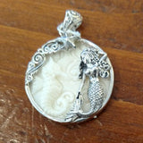 Bone Mermaid, Seahorse & Starfish Pendant Set in Sterling Silver
