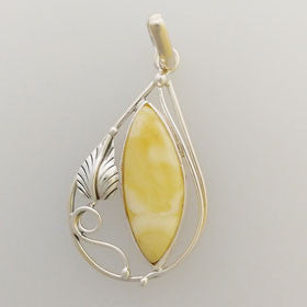 Butterscotch Leaf Pendant Set in Sterling Silver