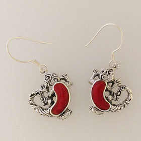 Red Coral Gecko Earrings Set in Sterling Silver