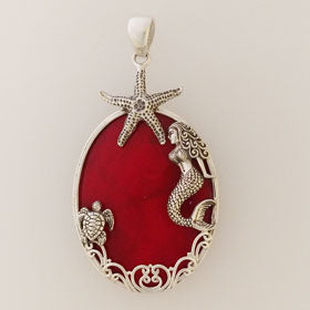 Red Coral Mermaid, Turtle & Starfish Sterling Silver Pendant