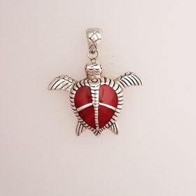 "Red Coral ""Peace"" Turtle Pendant Set in Sterling Silver"