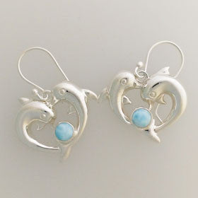 Larimar Dolphin Heart Shaped Earrings Set in Sterling Silver