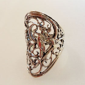 Sterling Silver Dove in Grapevine Ring