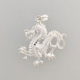 Sterling Silver Dragon Pendant Medium
