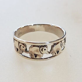 Sterling Silver Elephant Family Ring