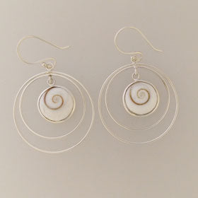 Eye of Shiva Circles Sterling Silver Earrings