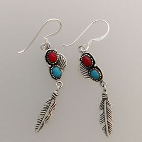 Red Coral & Turquoise Feather Earrings set in Sterling Silver