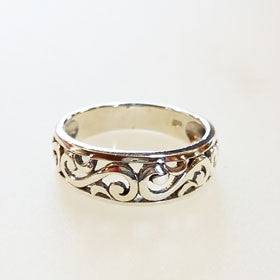 Sterling Silver Filigree Narrow Ring