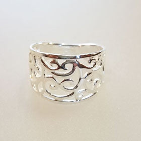 Sterling Silver Filigree Wide Band Ring