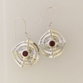 Garnet Spiral Earrings set in Sterling Silver