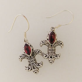 Garnet Fleur de Lis Earrings set in Sterling Silver