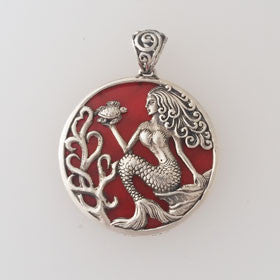 Red Coral Mermaid & Turtle Sterling Silver Pendant