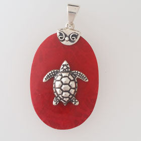 Red Coral Turtle Oval Pendant Set in Sterling Silver
