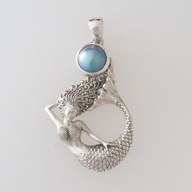 Blue Mother of Pearl Mermaid Sterling Silver Pendant