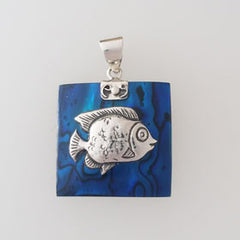 Abalone Angel Fish Blue Pendant Set in Sterling Silver