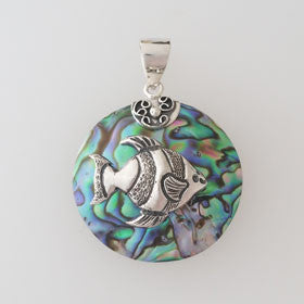 Abalone Angel Fish Round Pendant Set in Sterling Silver