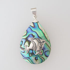 Abalone Angel Fish Teardrop Pendant Set in Sterling Silver