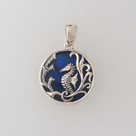 Abalone Seahorse Blue Small Pendant Set in Sterling Silver