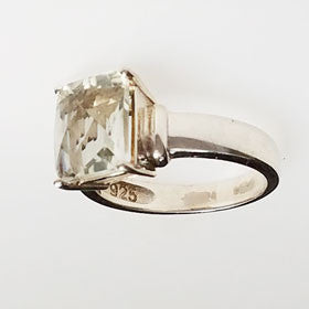 Green Amethyst Ring in Sterling Silver