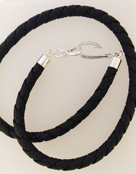 Sterling Silver Fish Hook & Black Leather Cord Necklace