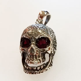 Sterling Silver Scolled Skull with CZ Eyes Pendant