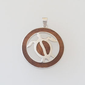 Hawaiian Koa Wood & Sterling Silver Honu Turtle Disc Pendant